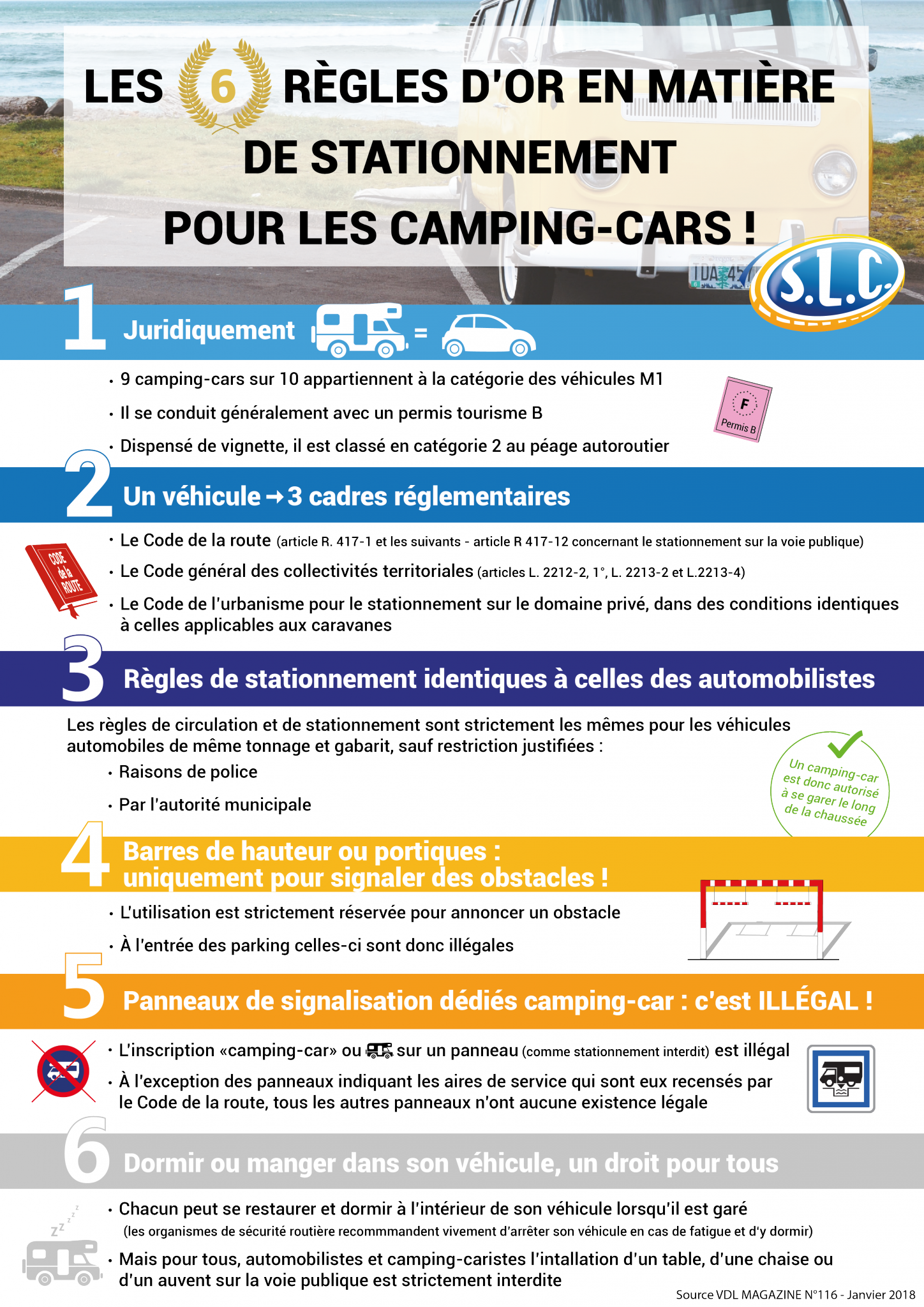 les règles appliquées concernant le stationnement des camping-cars sont les mêmes que celles pour les automobiles